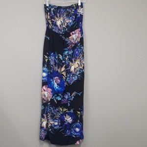 Xhilaration Floral Strapless Maxi Dress Size Large